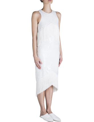 White Lace Rock The Fringe Lace Dress