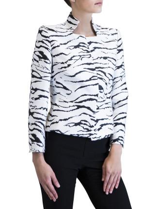 Zebra Brocade Crop Jacket