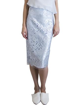 Pale Blue Lace Versailles Slim Skirt