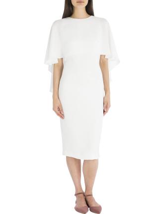 White Crepe Cloud Nine Caped Dress