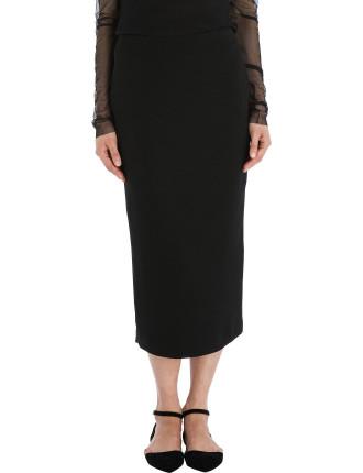 Black Crepe Longer And Leaner Skirt