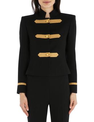 Black Crepe Military Precision Crop Jacket