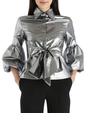 Silver Taffeta Wrap Me Up Shirt