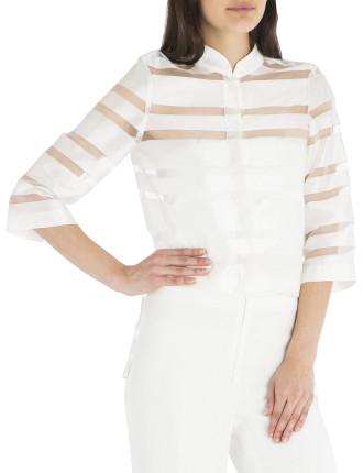 White Stripe Tuxedo Shirt