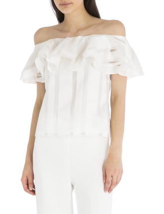 White Stripe Flamenco Top