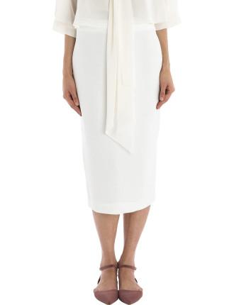 White Crepe Longer And Leaner Skirt