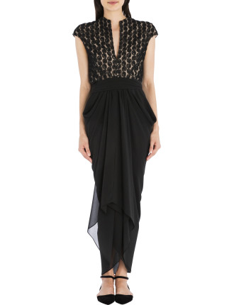 Black Rose Lace Waterfall Gown