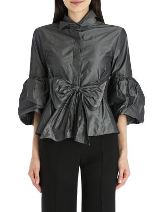 Charcoal Taffeta Wrap Me Up Shirt