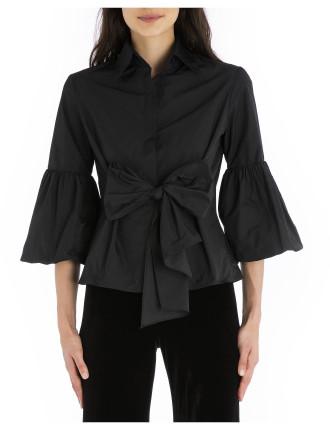 Black Taffeta Wrap Me Up Shirt