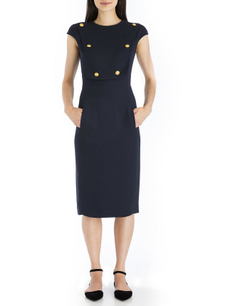Navy Crepe Military Precision Chemise