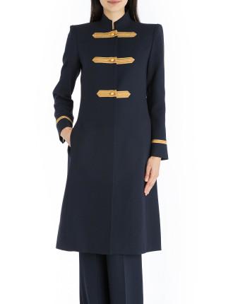 Navy Crepe Military Precision Coat