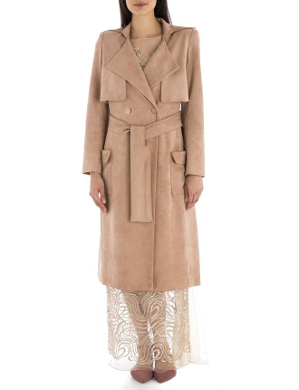 Rose Faux Suede London Trench Coat