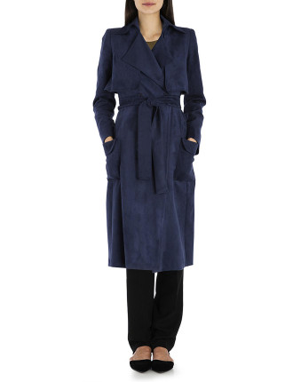Navy Faux Suede London Trench Coat