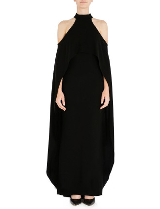 ONYX CREPE WINGED GODDESS GOWN