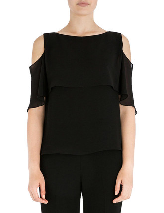 ONYX GEORGETTE CAPED COLD SHOULDER TOP