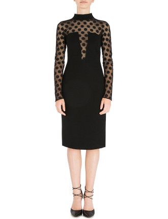 ONYX SPOT ON NET CORSETED DRESS