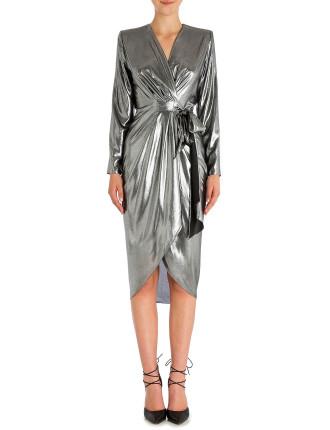 Platinum Lame Farrah Dress