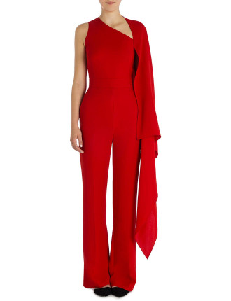 Flame Crepe Selene Caped Jumpsuit