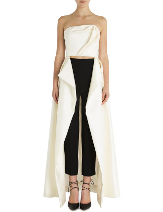 Pearl Corseted Tuxedo Exposed Gown