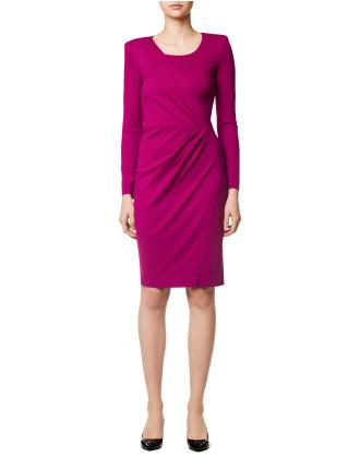 Front Pleat Jersey Dress