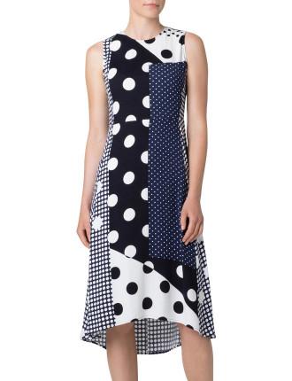 Viscose Spliced Spot Dress