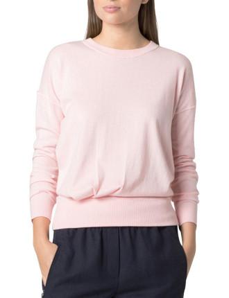Cotton Blend Tuck Detail Knit