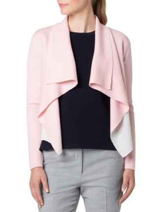 Colour Block Double Knit Waterfall Cardigan