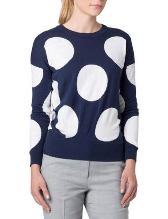 Cotton Blend Spot Tuck Knit