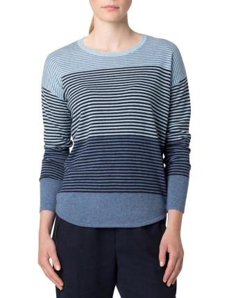 Merino Blend Multicoloured Fine Stripe Curved Hem Knit