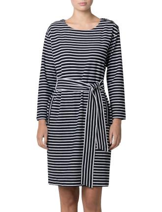 Textured Jersey Breton Dress