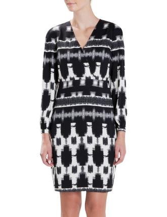 Blurred Check Wrap Dress