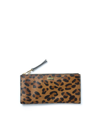 Zip Top Leopard Wallet