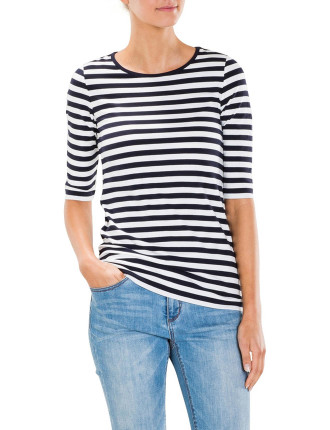 Half Sleeve Stripe T-Shirt