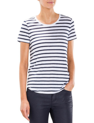 Stripe Short Sleeve Linen T-Shirt