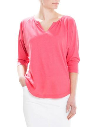 Soft Gathered Neck T-Shirt