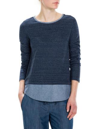 Stripe Spliced T-Shirt