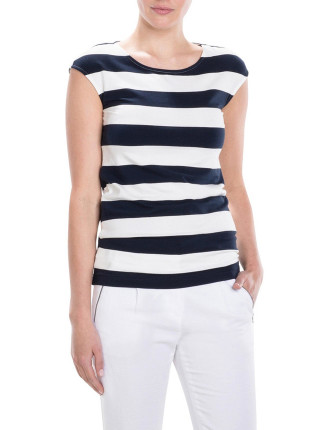 Bold Stripe Cap Sleeve T-Shirt