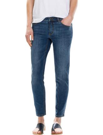 Washed Crop Denim Jean