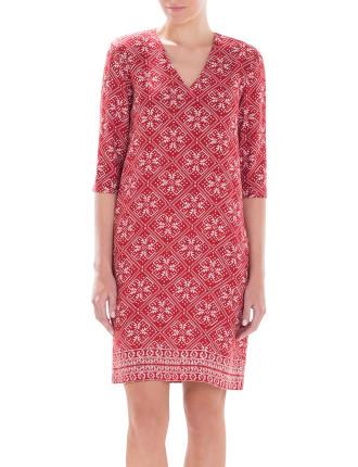 Textured Tapestry Print Dress