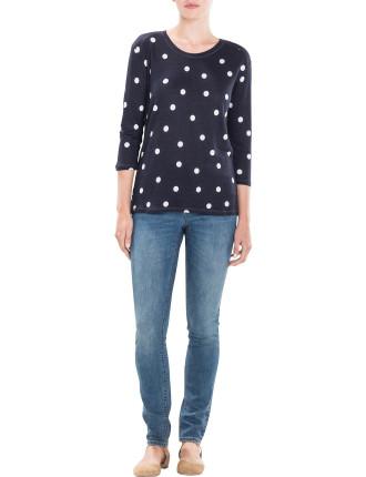 Linen Spot 3/4 Sleeve T-Shirt