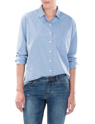 Yarn Dyed Spot Cotton Shirt