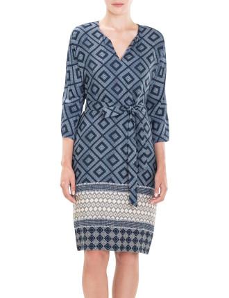 Cross Diamond Print Dress