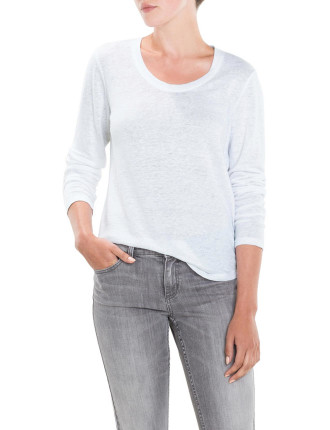 Scoop Neck Linen T-Shirt
