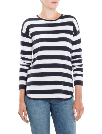 Striped Curved Hem Knit