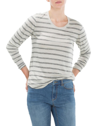 Striped Scoop Neck Linen T-Shirt