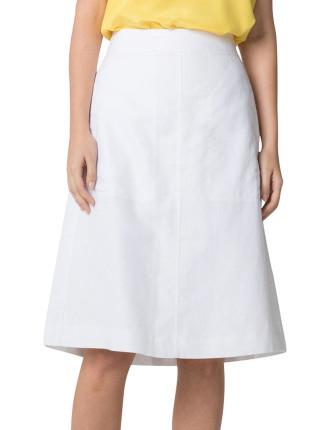 White Cotton Linen Skirt