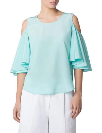 Silk Ruffle Sleeve Top