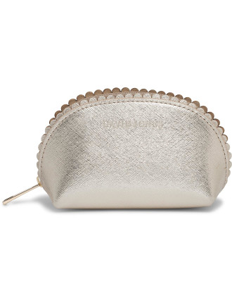 Small Scalloped Edge Beauty Bag - Gold