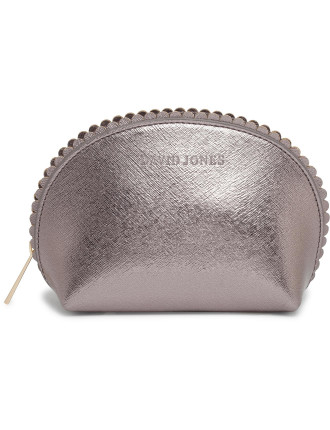 Medium Scalloped Edge Beauty Bag - Pewter