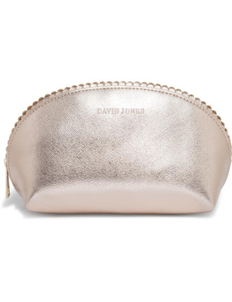 Large Scalloped Edge Beauty Bag - Rose Gold